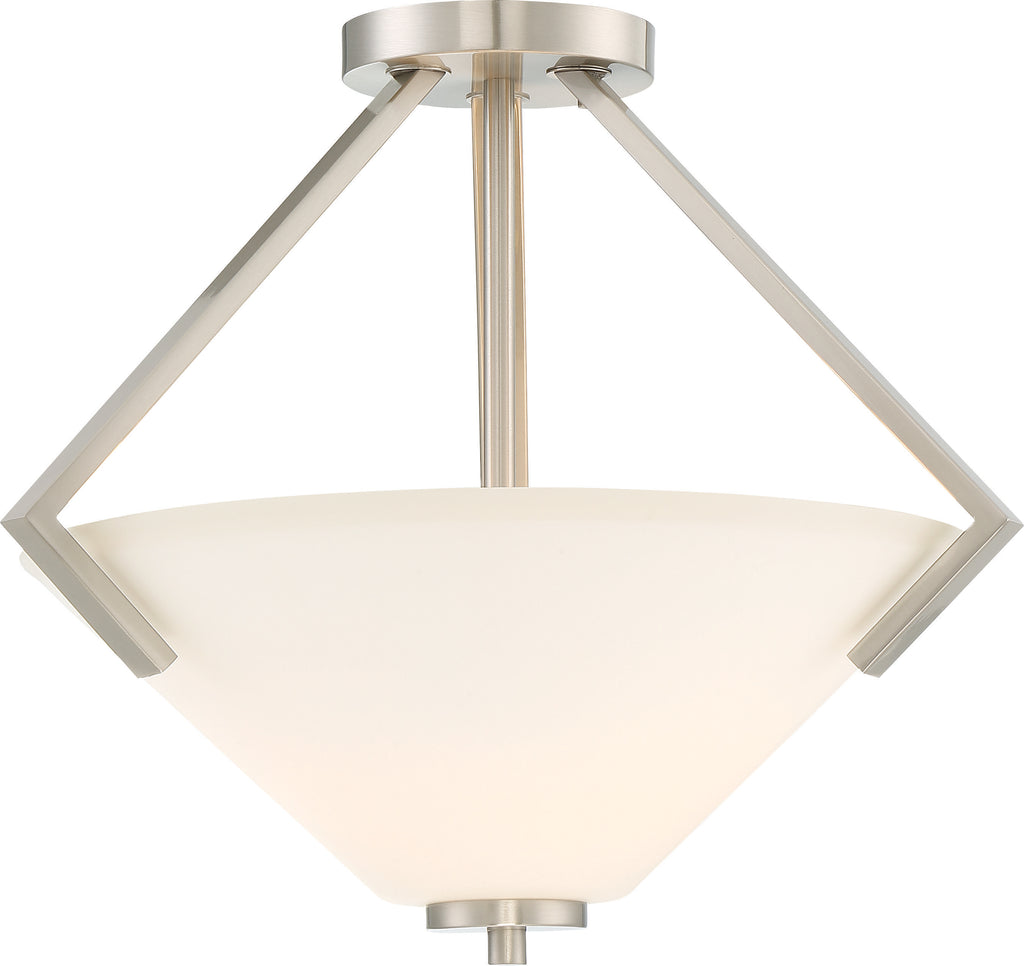 Nome 2-Light Semi Flush Mounted Light Fixture in Brushed Nickel Finish