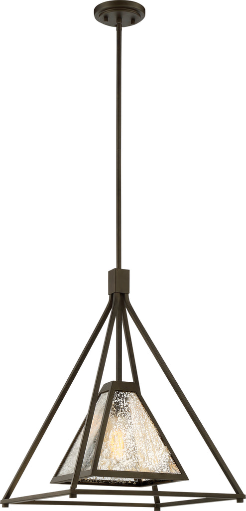 Nuvo Mystic 1-Light Large Pendant w/ Antique Mirror Glass in Forest Bronze