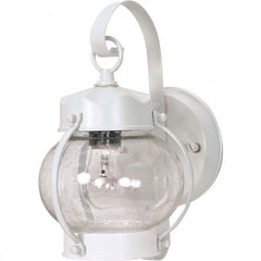 "Nuvo 1-Light 11"" Onion Wall Lantern w/ Clear Seeded Glass in White Finish"