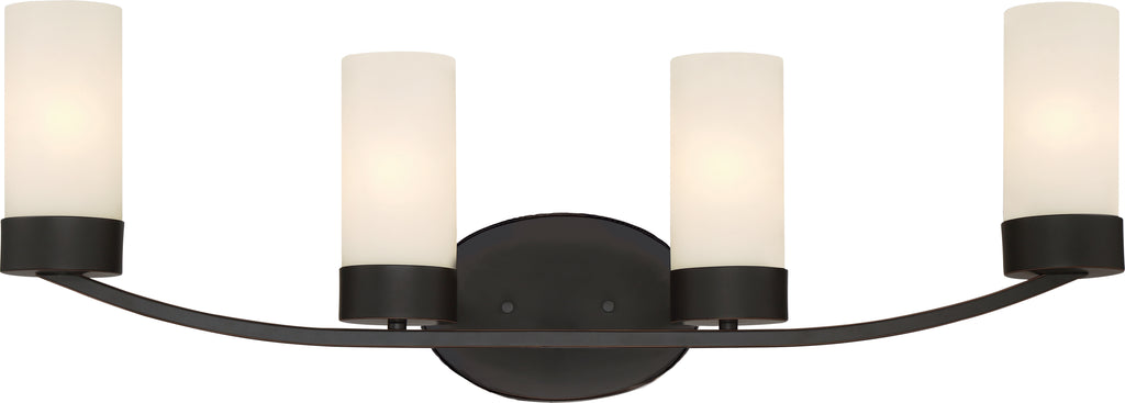 Denver 4-Light Wall Mounted Vanity & Wall Light Fixture in Mahogany Bronze Finish