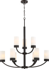 Denver 9-Light Hanging Mounted Chandelier Light Fixture in Mahogany Bronze Finish