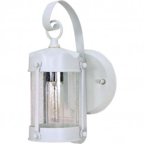 "Nuvo 1-Light 11"" Piper Wall Lantern w/ Clear Seeded Glass in White Finish"