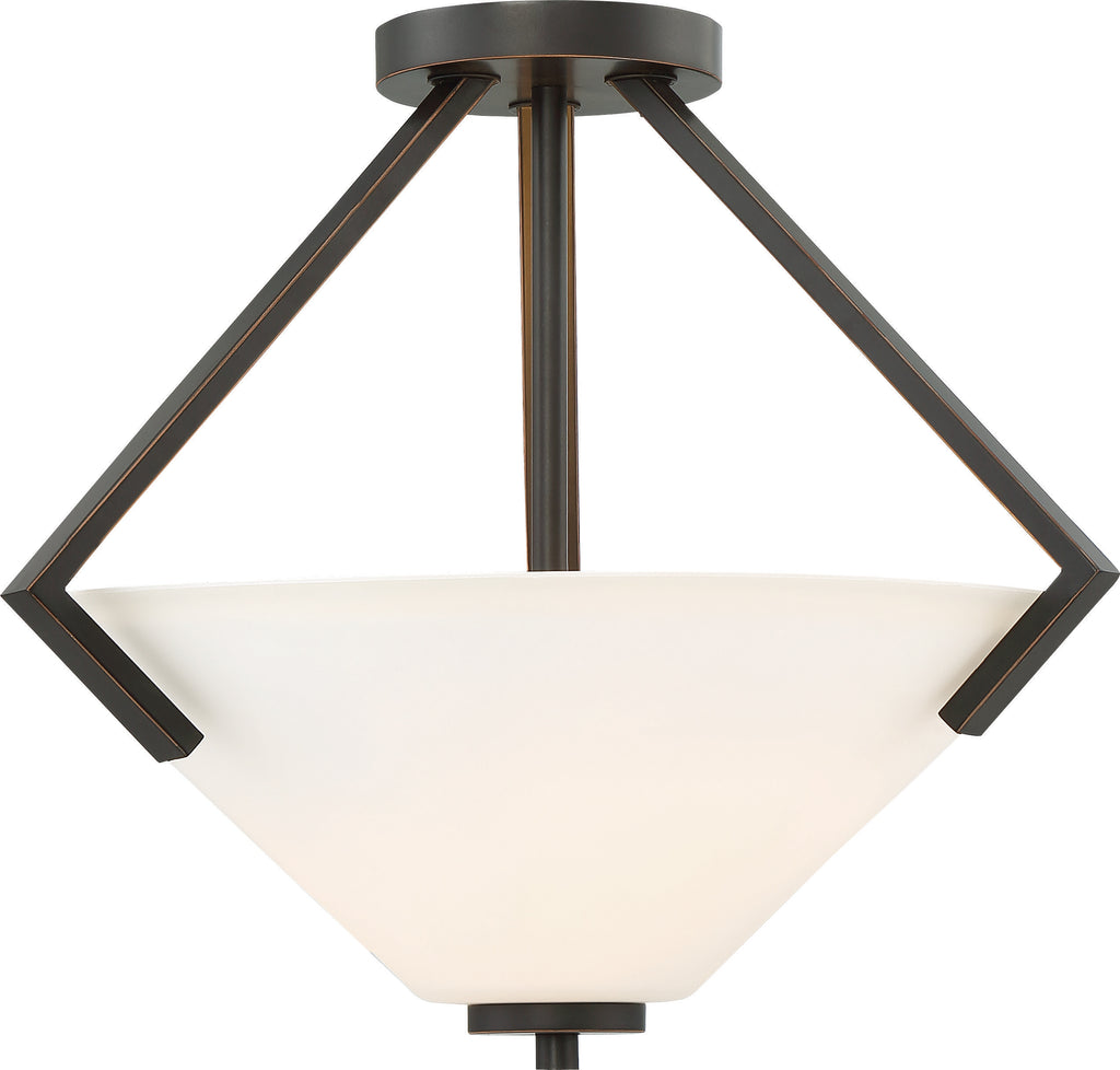 Nome 2-Light Semi Flush Mounted Light Fixture in Mahogany Bronze Finish