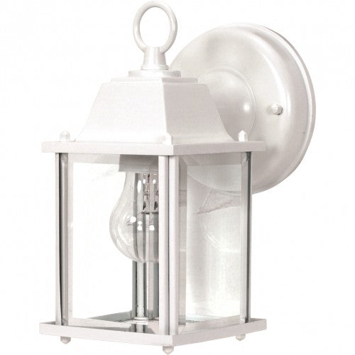 """Nuvo 1-Light 9"""" Cube Wall Lantern w/ Clear Beveled Glass in White Finish"""