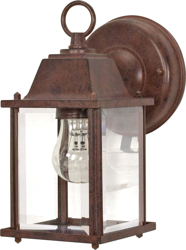 "Nuvo 1-Light 9"" Cube Wall Lantern w/ Clear Beveled Glass in Old Bronze Finish"