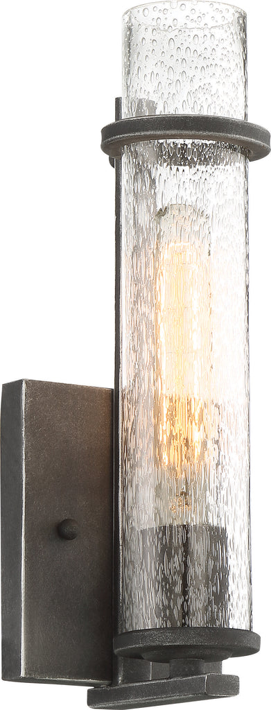 Donzi 1-Light Wall Mounted Vanity & Wall Light Fixture in Iron Black Finish