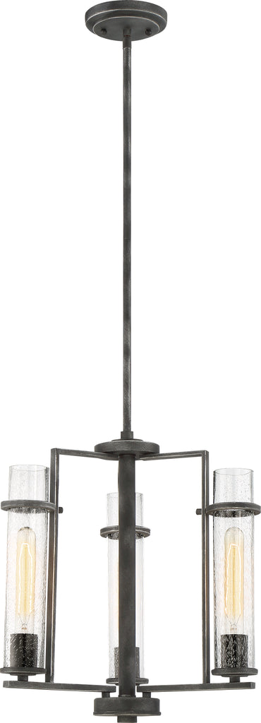 Donzi 3-Light Hanging Mounted Chandelier Light Fixture in Iron Black Finish