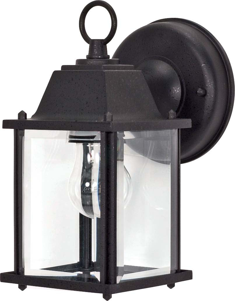 """Nuvo 1-Light 9"""" Cube Wall Lantern w/ Clear Beveled Glass in Textured Black"""