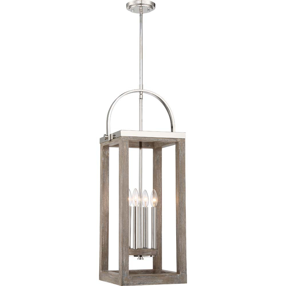 Nuvo Bliss 2-Light Pendant w/ Polished Nickel Accents in Driftwood Finish w/