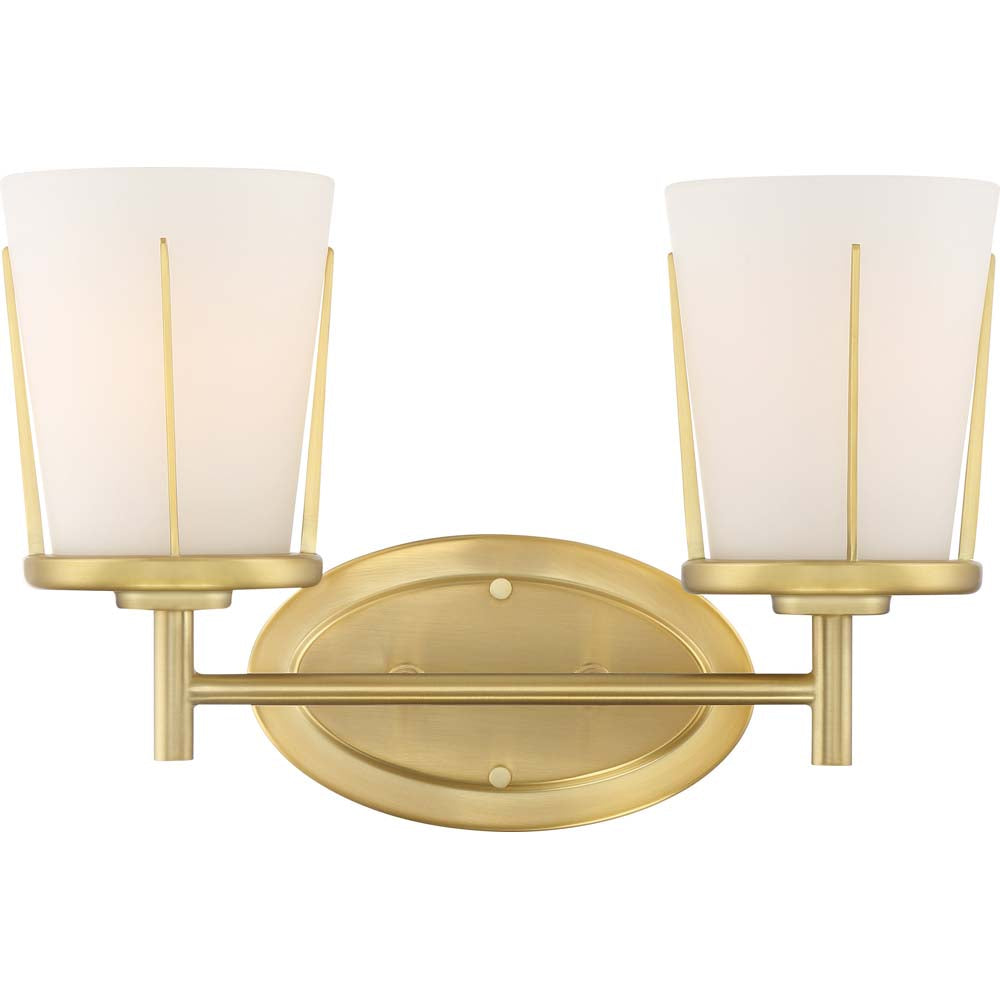 Nuvo Lighting 100w Serene 2-Light Vanity Natural Brass Finish