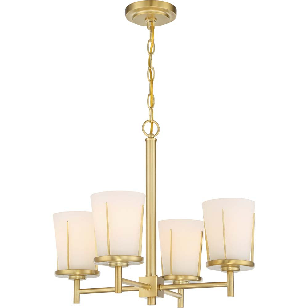 Nuvo Lighting 100w Serene 4-Light Chandelier Natural Brass Finish