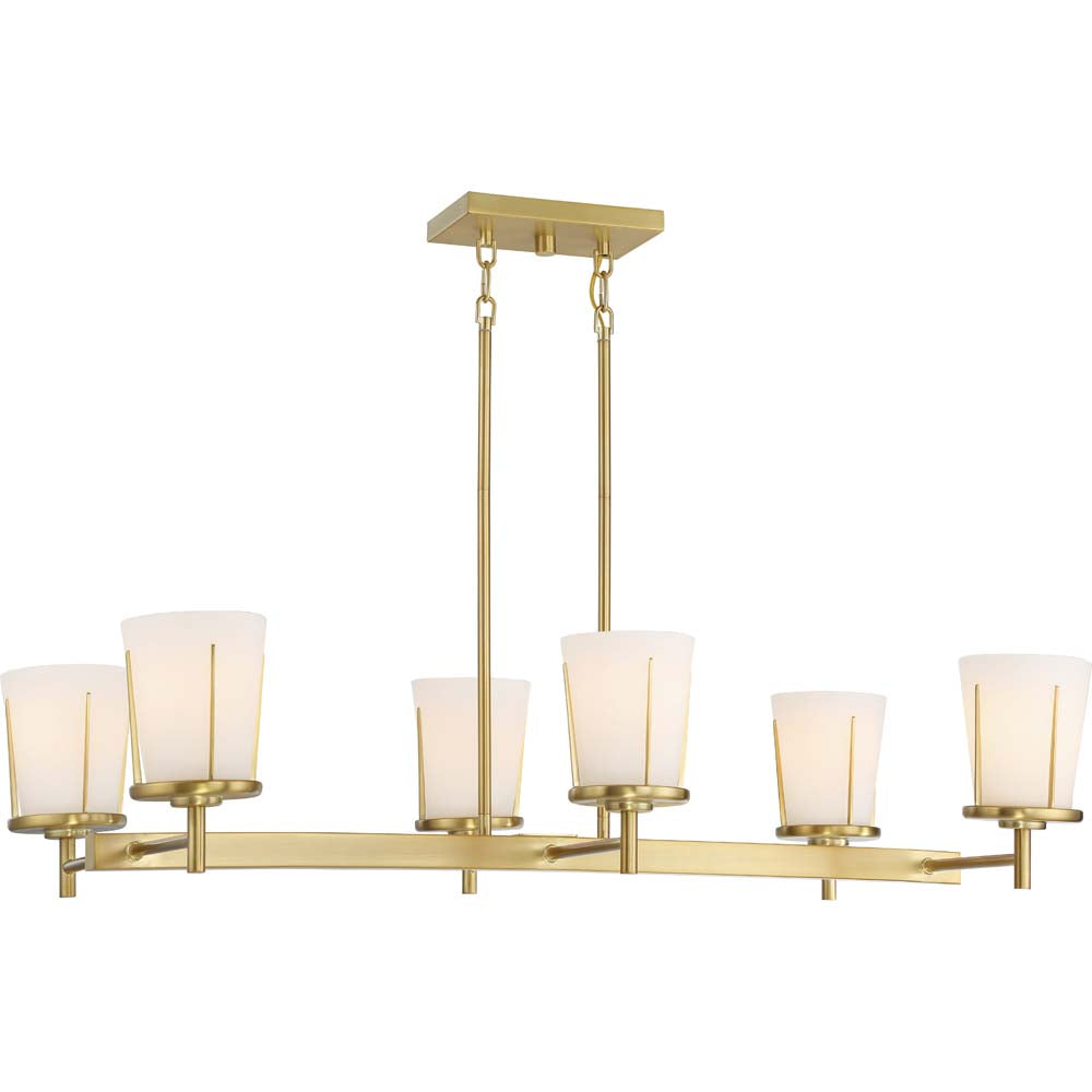 Nuvo Lighting 100w Serene 6-Light Island Pend Natural Brass Finish