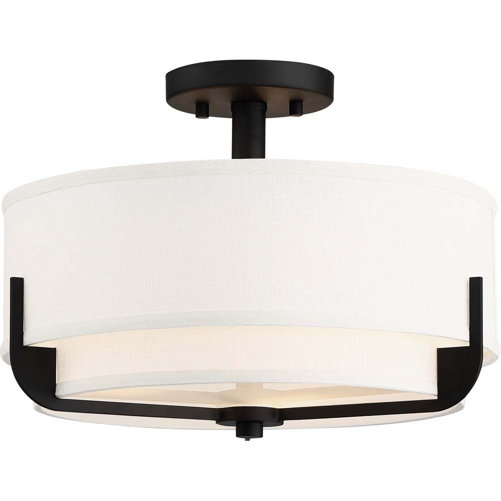 Nuvo Lighting 100w Frankie 3-Light Semi Flush Aged Bronze Finish