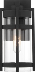 Nuvo Tofino 1-Light Small Wall Lantern w/ Clear Seeded Glass in Textured Black