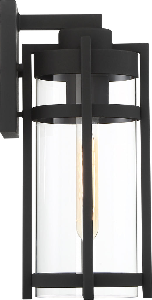 Nuvo Tofino 1-Light Medium Wall Lantern w/ Clear Seeded Glass in Textured Black
