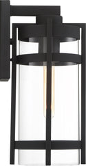 Nuvo Tofino 1-Light Large Wall Lantern w/ Clear Seeded Glass in Textured Black