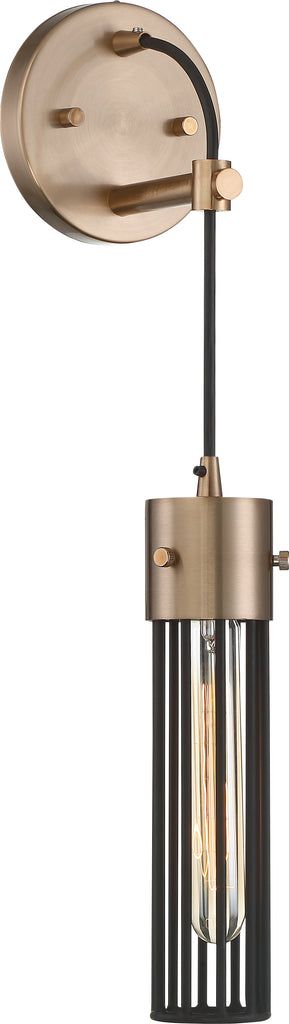 Nuvo 60w T9 Eaves Wall 1-Light 120v Copper Brass with Matte Black finish