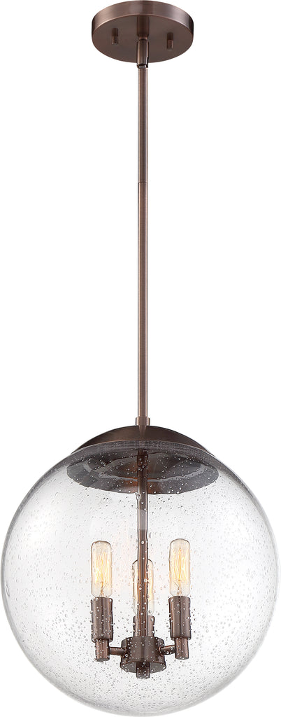 Nuvo 60w T9 Ariel Pendants 3-Light 120v Antique Copper & Clear Seeded Shade