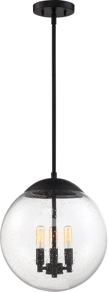 Nuvo 60w T9 Ariel Pendants 3-Light 120v Matte Black & Clear Seeded Shade