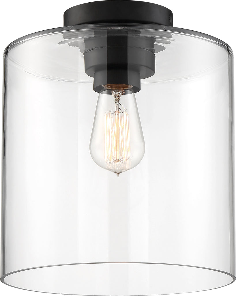 Nuvo 100W A19Close-To-Ceiling Flush 120v Matte Black & Clear Shade