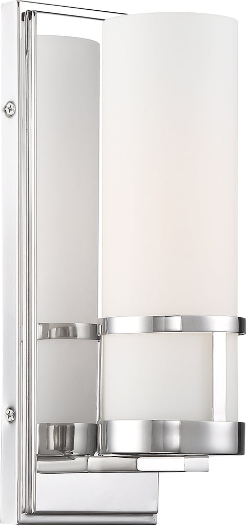 Nuvo 100W T9 Caryle Wall 1-Light 120v Polished Nickel & Opal Shade