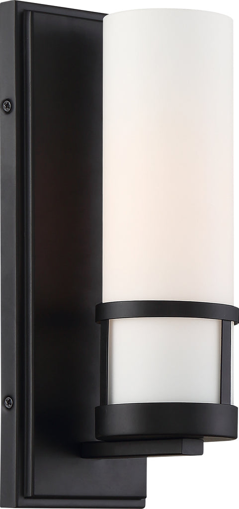 Nuvo 100W T9 Caryle Wall 1-Light 120v Aged Bronze & Opal Shade