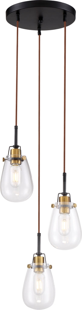 Nuvo 60w T14 Toleo Chandelier 3-Light 120v Black Vintage Brass Accents finish