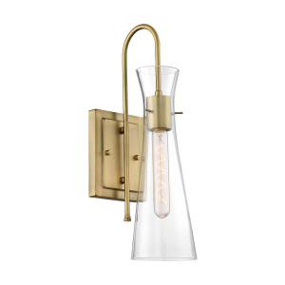 Nuvo Bahari 1-Light wall Sconce w/ Clear Glass in Vintage Brass Finish