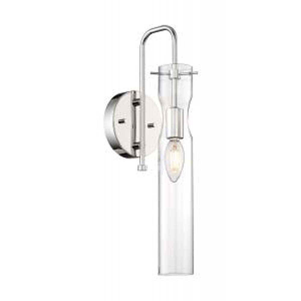 Nuvo Spyglass 1-Light Wall Sconce w/ Clear Glass in Polished Nickel Finish