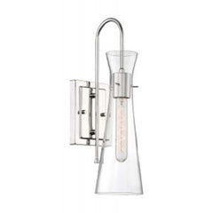 Nuvo Bahari 1-Light Wall Sconce w/ Clear Glass in Polished Nickel Finish