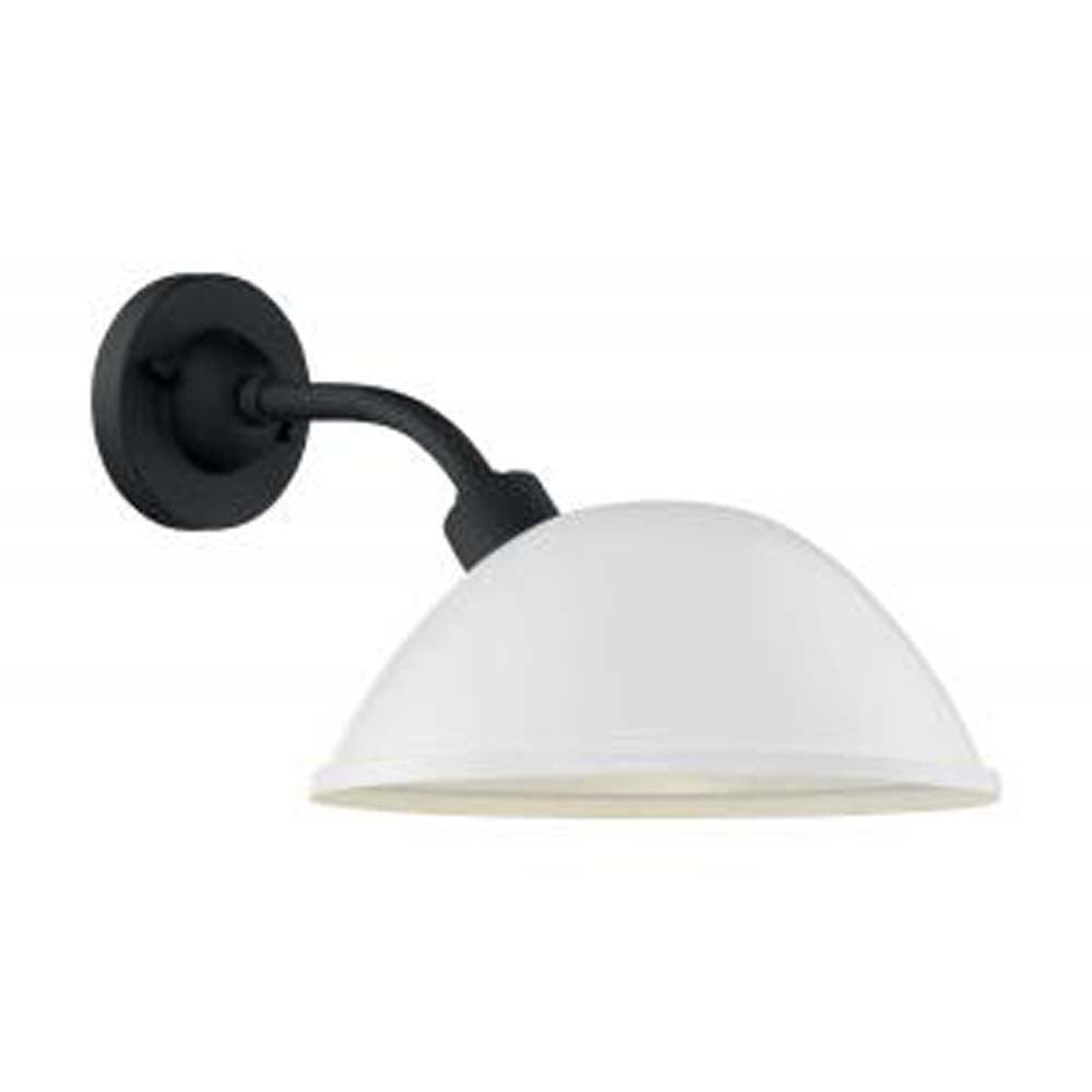 """Nuvo South Street 1-Light 12"""" Wall Sconce w/ Gloss White & Textured Black Finish"""