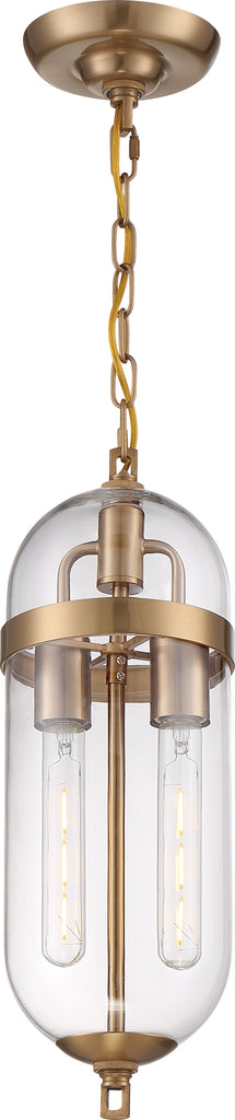 Nuvo 60w T9 Fathom Pendants 2-Light 120v Vintage Brass finish