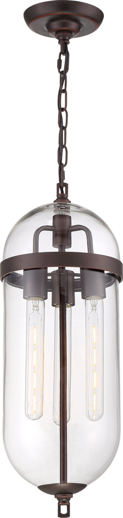 Nuvo 60w T9 Fantom Pendants 3-Light 120v Mahogany Bronze finish