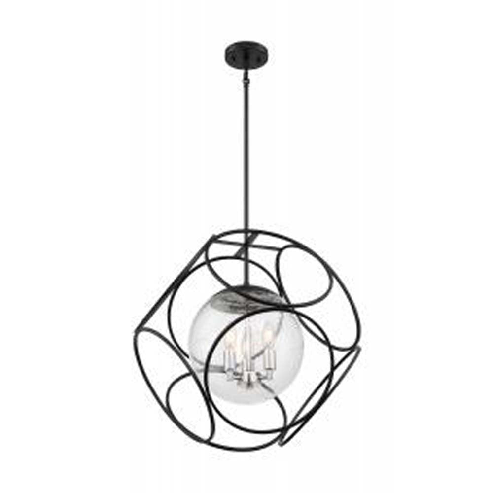 Nuvo Aurora 3-Light Pendant w/ Seeded Glass Black in Polished Nickel Finish
