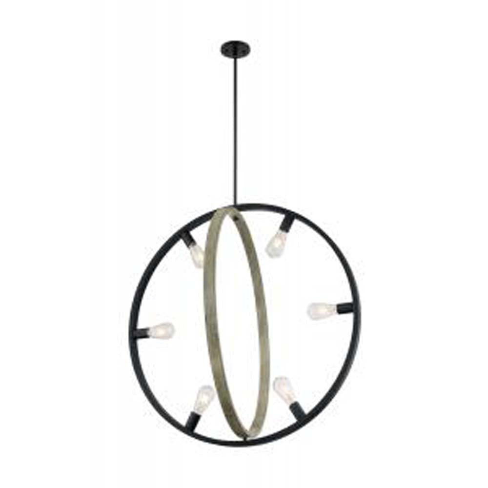 Nuvo Augusta 6-Light Pendant w/ Black & Wood Finish