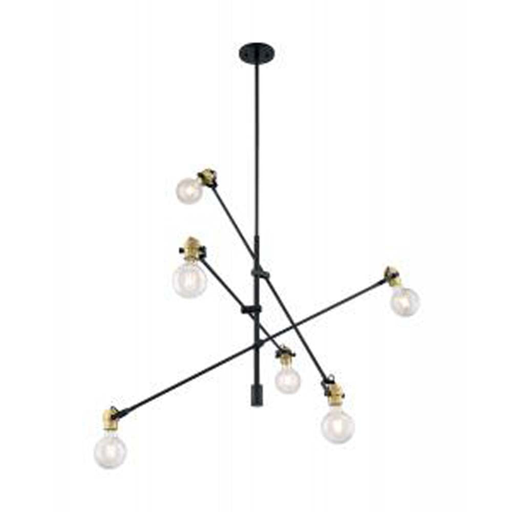 Nuvo Mantra 6-Light Pendant w/ Black & Brass Accents Finish