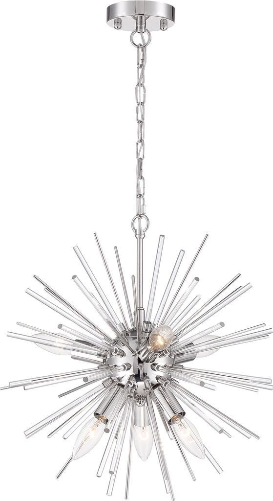 Nuvo 60w Type B Cirrus Chandelier 8-Light 120v Polished Nickel finish