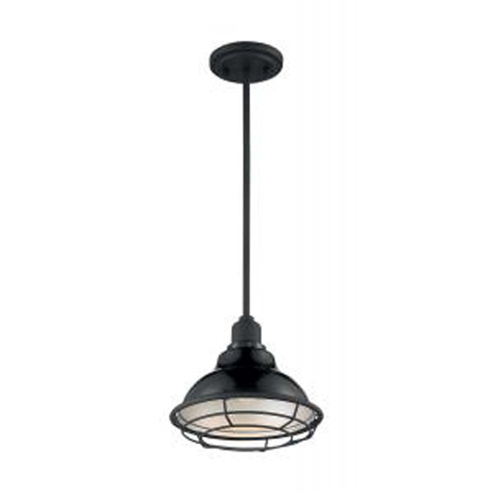 Nuvo Newbridge 1-Light small Pendant w/ Black & Silver & Black Accents Finish