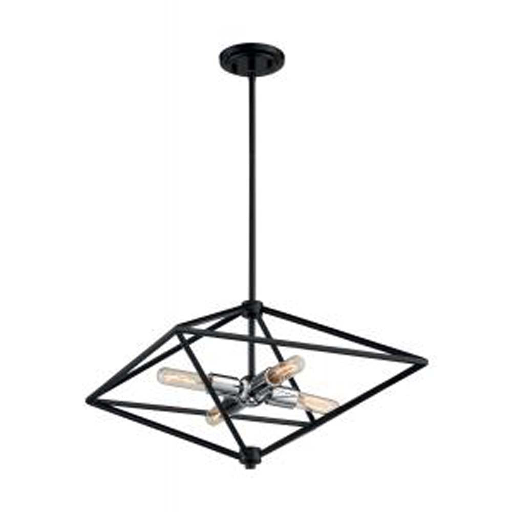 Nuvo Legend 4-Light Small Pendant w/ Black & Polished Nickel Finish