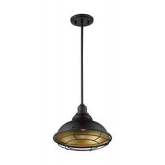 Nuvo Newbridge 1-Light Large Pendant w/ Dark Bronze & Gold Finish