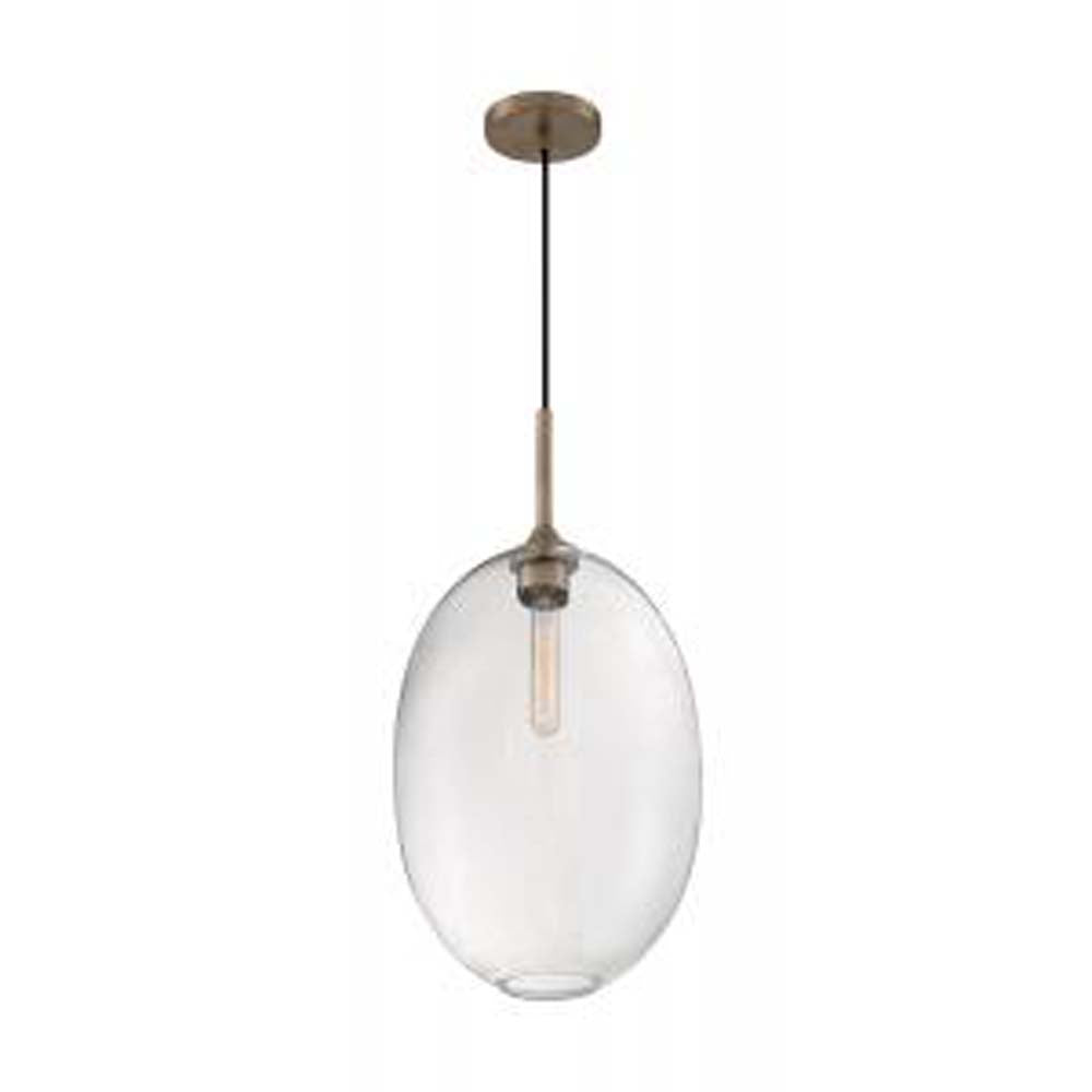 "Nuvo Aria 1-Light 11.63"" Pendant w/ Seeded Glass in Burnished Brass Finish"