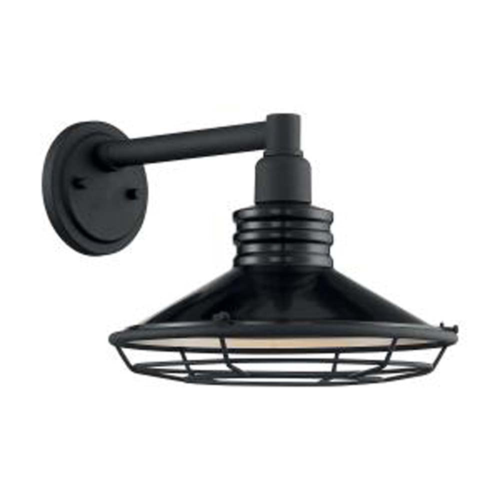 "Nuvo Blue Harbor 1-Light 12"" Sconce w/ Black & Silver & Black Accents Finish"