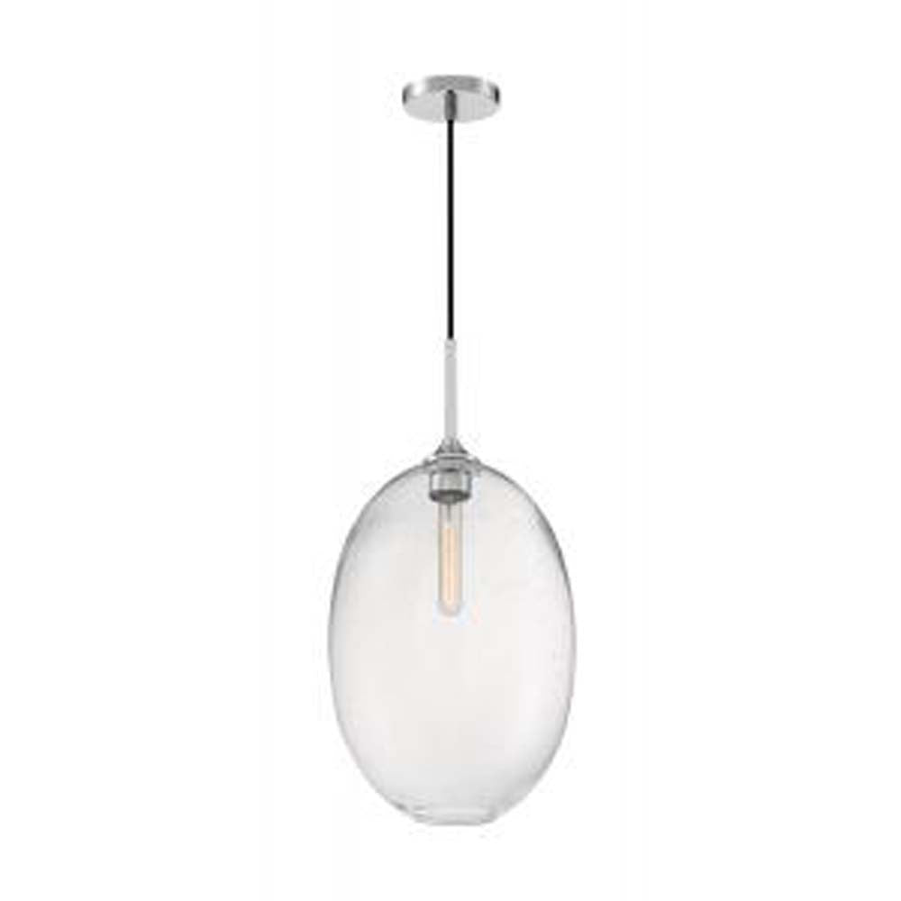 Nuvo Aria 1-Light Large Pendant w/ Seeded Glass in Polished Nickel Finish