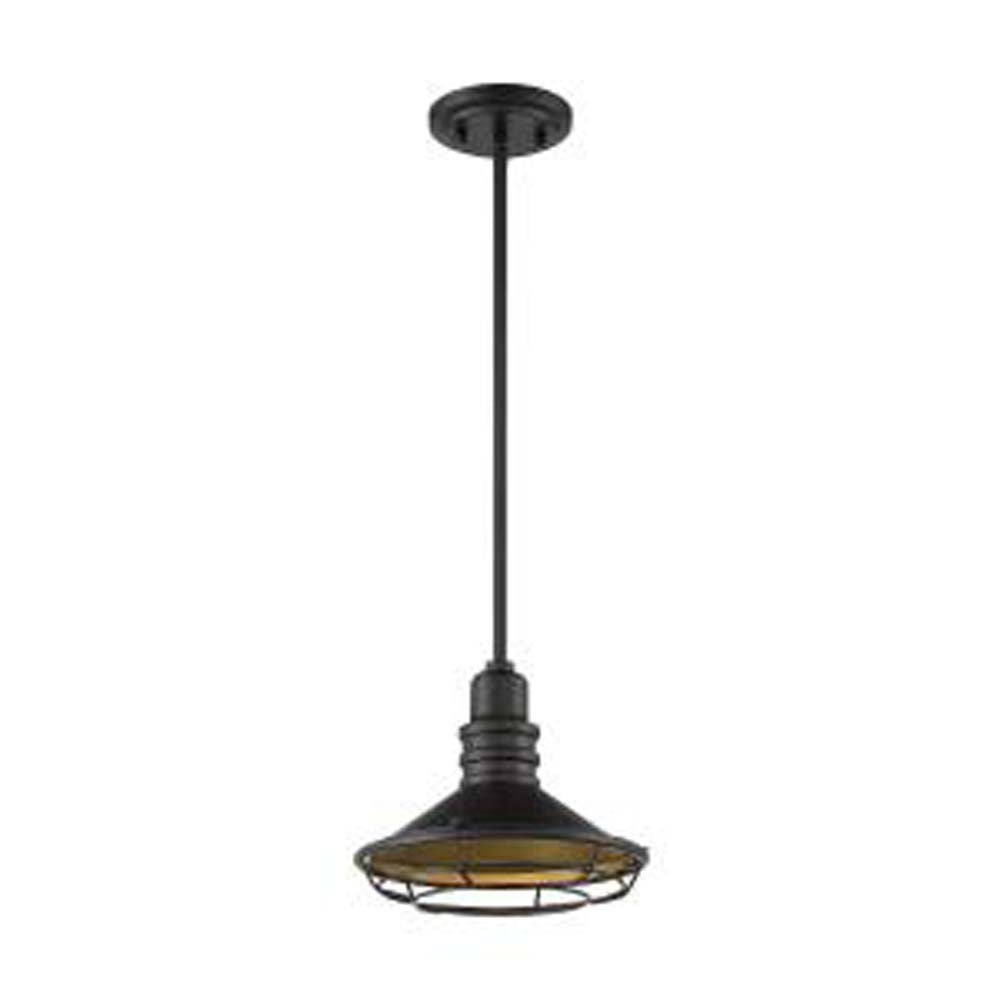 "Nuvo Blue Harbor 1-Light 12"" Pendant w/ Dark Bronze & Gold Finish"