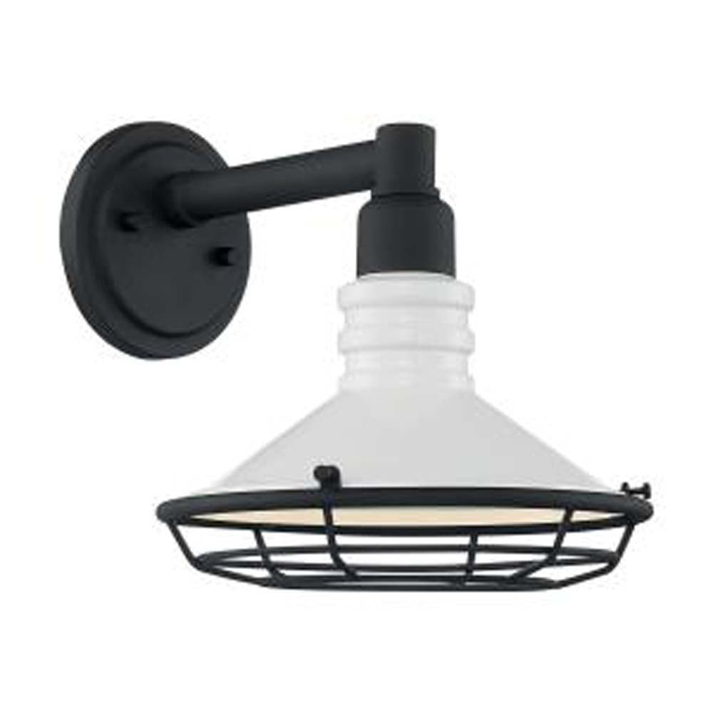 "Nuvo Blue Harbor 1-Light 9.75"" Sconce w/ Gloss White & Textured Black Finish"