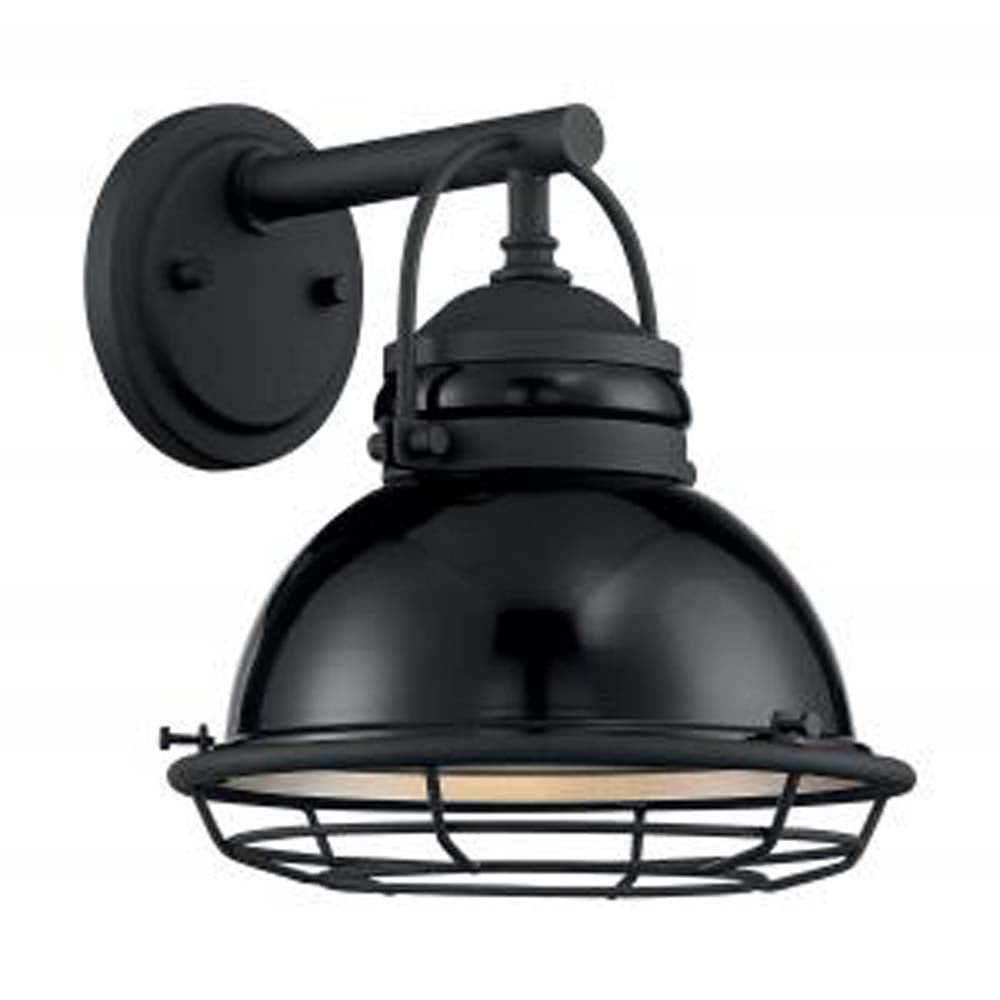 "Nuvo Upton 1-Light 9.75"" Sconce w/ Black & Silver & Black Accents Finish"
