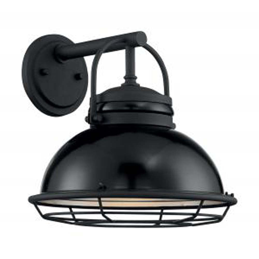 """Nuvo Upton 1-Light 12"""" Sconce w/ Black & Silver & Black Accents Finish"""