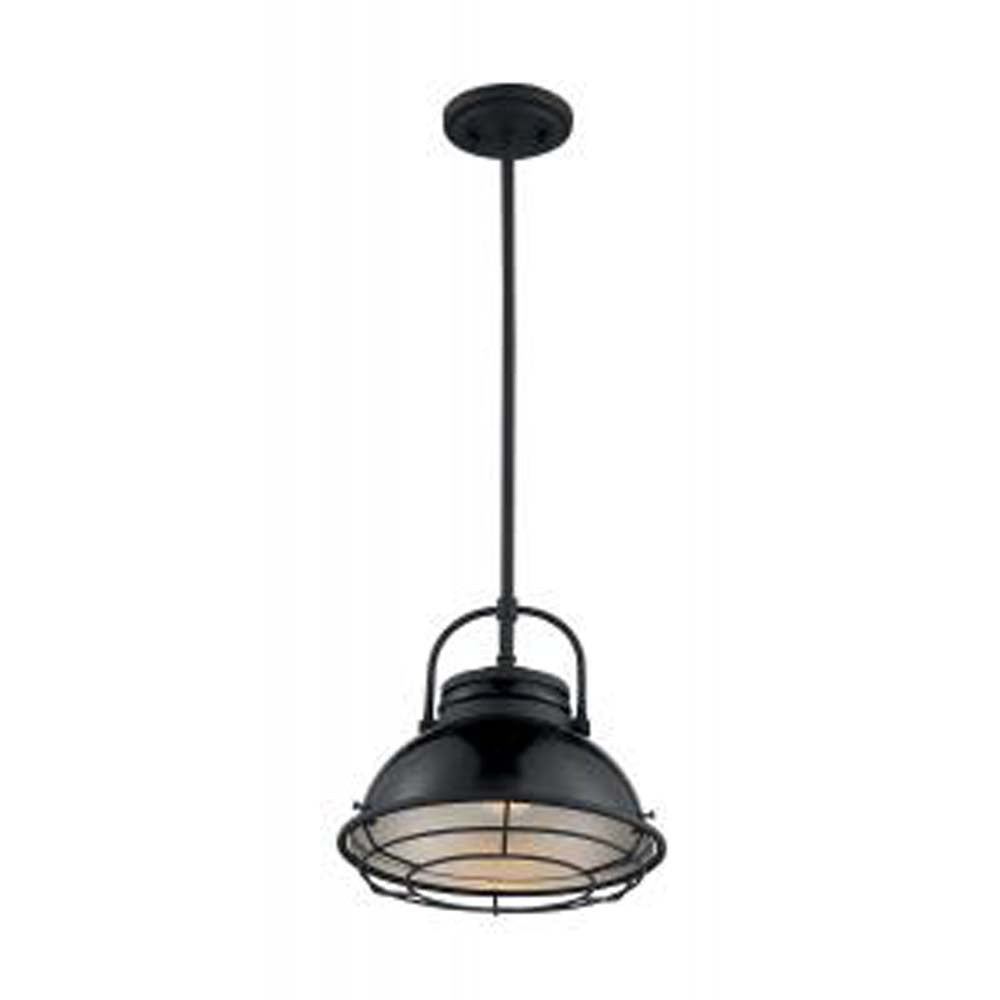 Nuvo Upton 1-Light Large Pendant w/ Black & Silver & Black Accents Finish