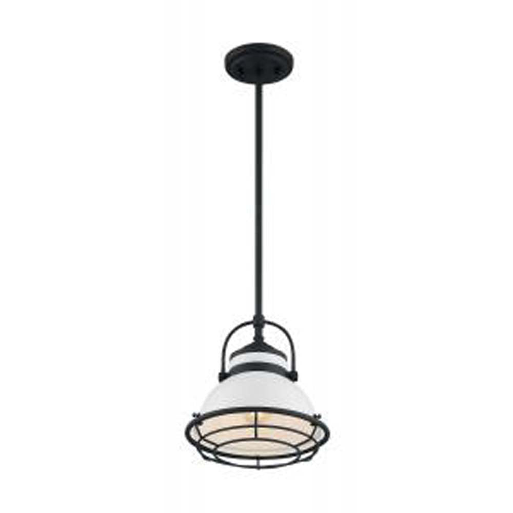 "Nuvo Upton 1-Light 9.75"" Pendant w/ Gloss White & Black Accents Finish"