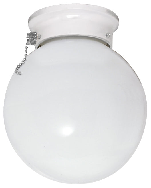 """Nuvo 1-Light 6"""" Ceiling Fixture White Ball w/ Pull Chain Switch White Finish"""